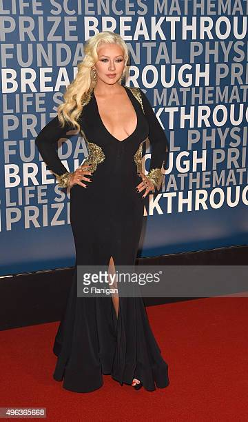Singer Christina Aguilera arrives at the 3rd Annual Breakthrough Prize Award Ceremony at NASA Ames Research Center on November 8 2015 in Mountain...