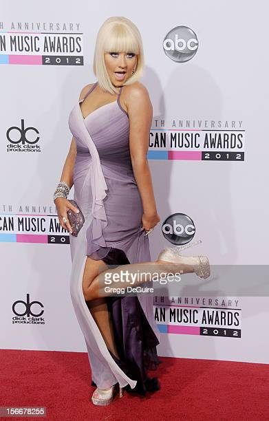 Singer Christina Aguilera arrives at the 40th Anniversary American Music Awards at Nokia Theatre LA Live on November 18 2012 in Los Angeles California