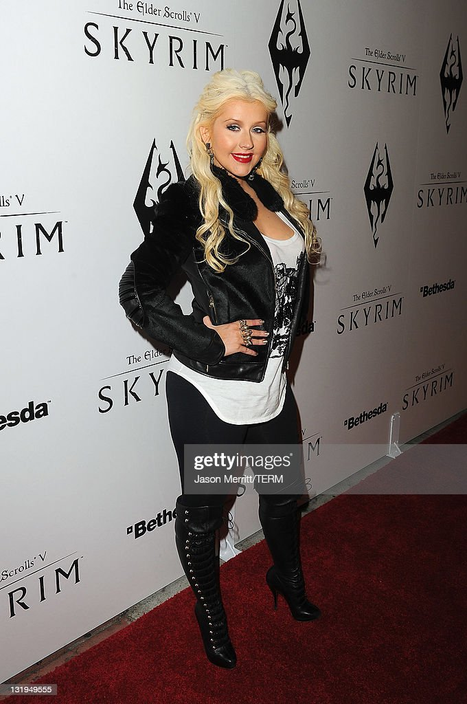 Singer Christina Aguilera arrives at the official launch party for the most anticipated video game of the year, The Elder Scrolls