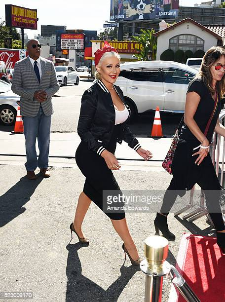 Singer Christina Aguilera arrives at 'The Voice' Karaoke For Charity event at HYDE Sunset Kitchen Cocktails on April 21 2016 in West Hollywood...