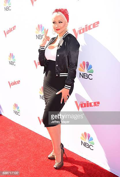 Singer Christina Aguilera arrives at 'The Voice' Karaoke For Charity event at HYDE Sunset: Kitchen + Cocktails on April 21, 2016 in West Hollywood,...