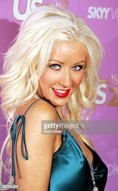 Singer Christina Aguilera arrives at US Weekly's 'Young Hollywood Hot 20' at LAX on September 16 2005 in Los Angeles California