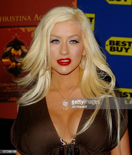 Singer Christina Aguilera arrives to sign her DVD Live and Down Under for fans at Christina Aguilera's DVD Release Signing at Best Buy on February 5...