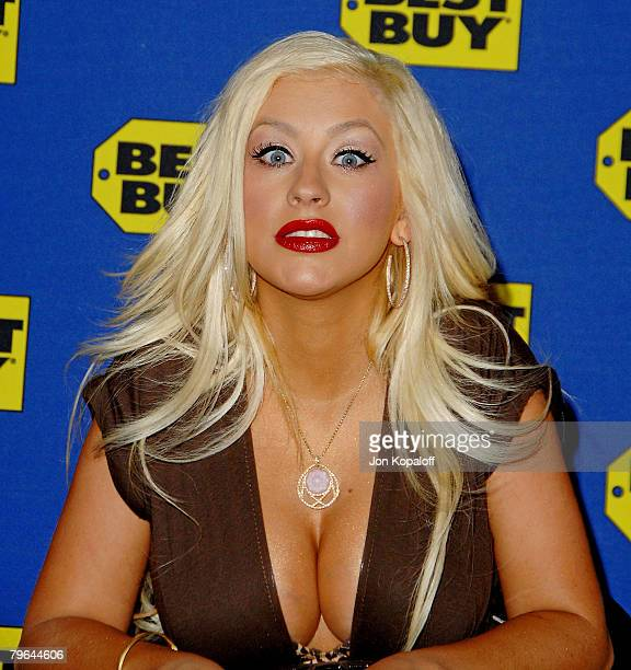 Singer Christina Aguilera arrives to sign her DVD 'Live and Down Under' for fans at 'Christina Aguilera's DVD Release Signing' at Best Buy on...