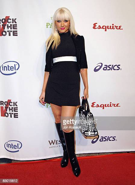 Singer Christina Aguilera arrives to the Rock The Vote hosted by Christina Aguilera at the Esquire House on September 25 2008 in Los Angeles...