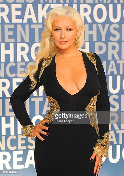 Singer Christina Aguilera attends the annual Breakthrough Prize ceremony at NASA Ames Research Center on November 8 2015 in Mountain View California