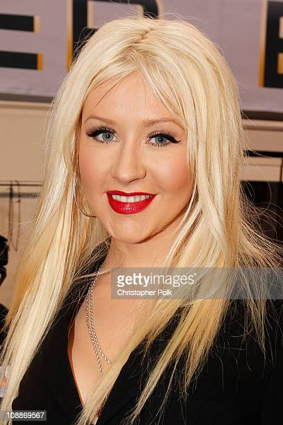 Singer Christina Aguilera attends the Bridgestone Super Bowl XLV Pregame Show at Dallas Cowboys Stadium on February 6 2011 in Arlington Texas