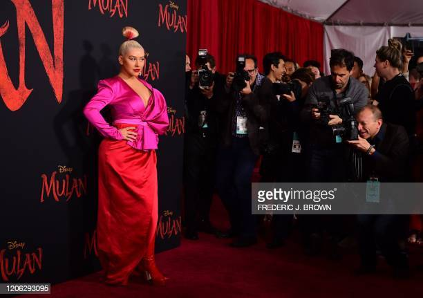 US singer Christina Aguilera attends the world premiere of Disney's Mulan at the Dolby Theatre in Hollywood on March 9 2020