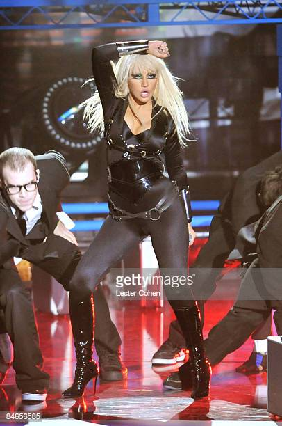 Singer Christina Aguilera on stage at the 2008 MTV Video Music Awards at Paramount Pictures Studios on September 7 2008 in Los Angeles California