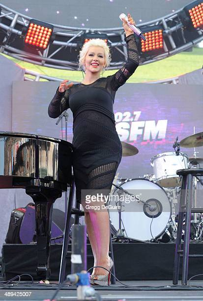 Singer Christina Aguilera performs at 1027 KIIS FM's 2014 Wango Tango at StubHub Center on May 10 2014 in Los Angeles California
