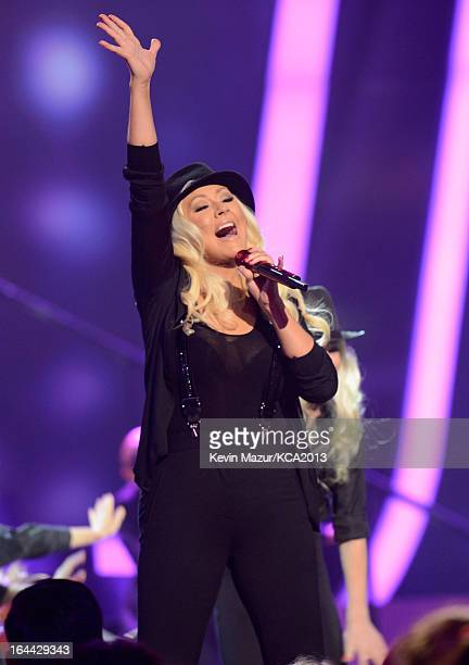 Singer Christina Aguilera performs during Nickelodeon's 26th Annual Kids' Choice Awards at USC Galen Center on March 23 2013 in Los Angeles California