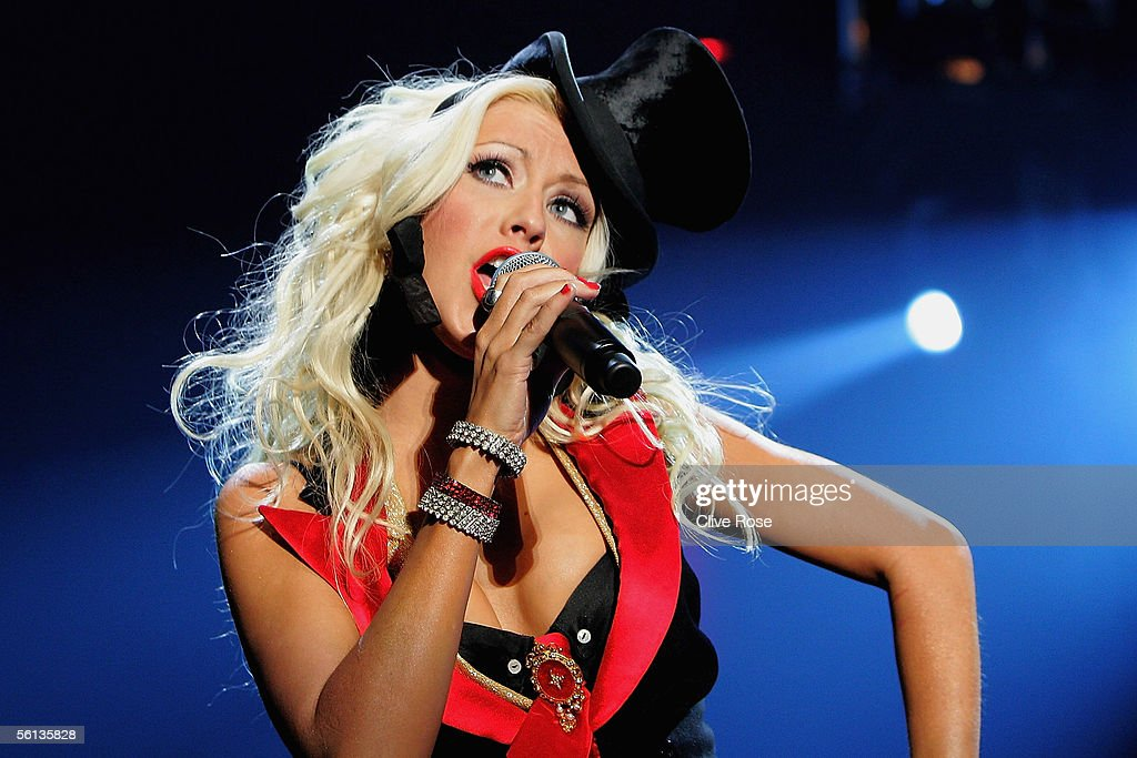 Singer Christina Aguilera performs in concert at the Coca-Cola Dome ahead of the F1 GP Masters race in Kyalami on November 10, 2005 in Johannesburg, South Africa.