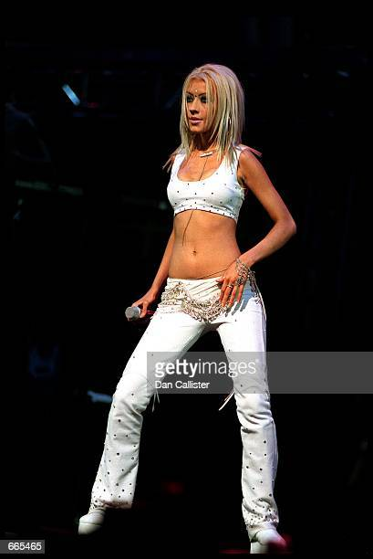Singer Christina Aguilera performs on stage at Tiger Jam III October 7 2000 at the Mandalay Bay Hotel in Las Vegas during the third annual fundraiser...