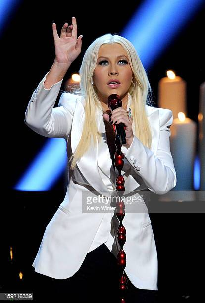 Singer Christina Aguilera performs onstage at the 39th Annual People's Choice Awards at Nokia Theatre LA Live on January 9 2013 in Los Angeles...
