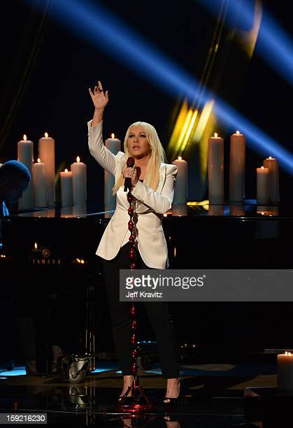 Singer Christina Aguilera performs onstage during the 2013 People's Choice Awards at Nokia Theatre LA Live on January 9 2013 in Los Angeles California