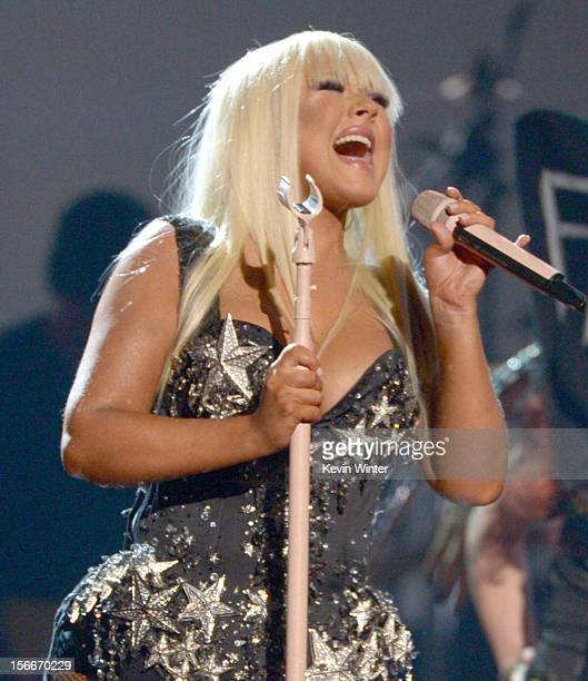 Singer Christina Aguilera performs onstage during the 40th American Music Awards held at Nokia Theatre LA Live on November 18 2012 in Los Angeles...