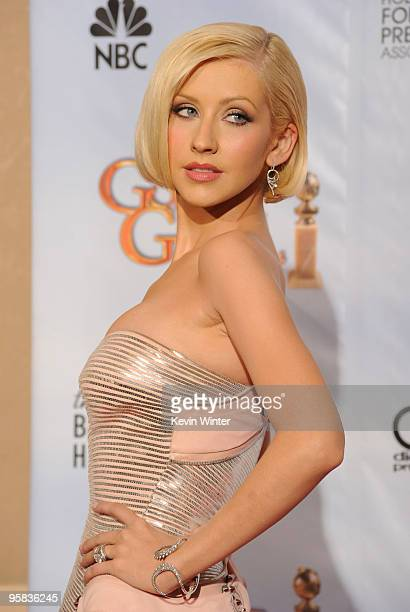 Singer Christina Aguilera poses in the press room at the 67th Annual Golden Globe Awards held at The Beverly Hilton Hotel on January 17, 2010 in...