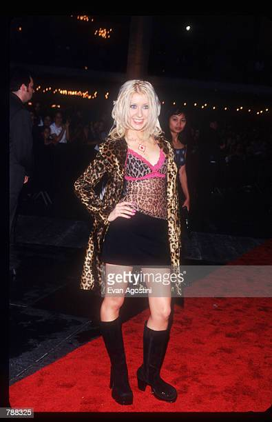 Singer Christina Aguilera poses September 9 1999 at the MTV Music Awards in New York City Christina Aguilera's breakthrough year began with her first...