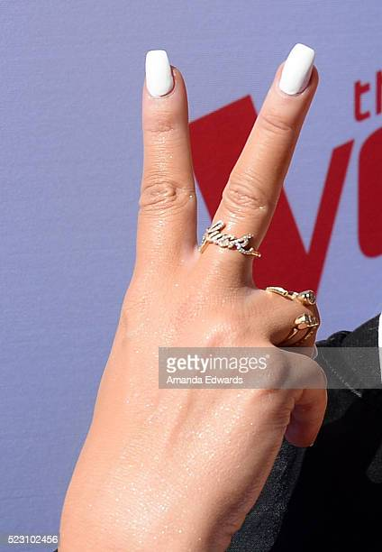 Singer Christina Aguilera ring and manicure detail arrives at 'The Voice' Karaoke For Charity event at HYDE Sunset Kitchen Cocktails on April 21 2016...