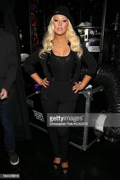 Singer Christina Aguilera seen backstage at Nickelodeon's 26th Annual Kids' Choice Awards at USC Galen Center on March 23 2013 in Los Angeles...