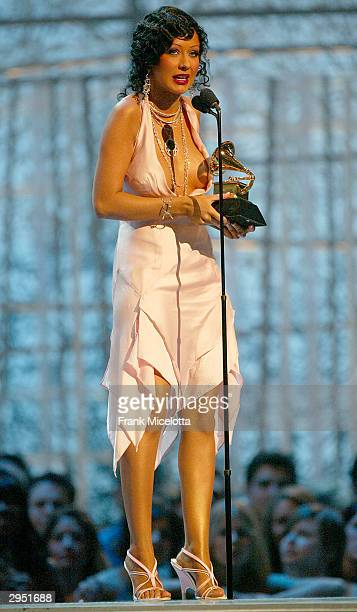 Singer Christina Aguilera wins the Grammy for Best Female Pop Vocal Performance for the song 'Beautiful' on the album Stripped at the 46th Annual...