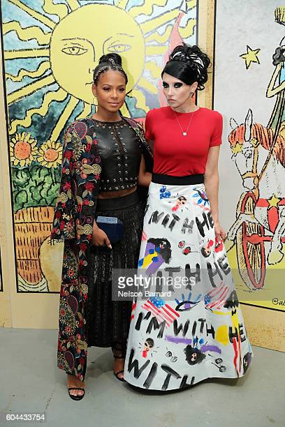 Singer Christina Milian and CEO Creative Director of Alice Olivia Stacey Bendet attend the Alice Olivia By Stacey Bendet fashion show during New York...