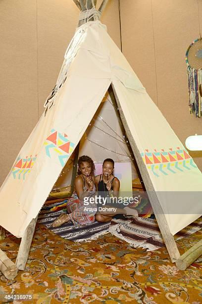 Singer Christina Milian and model Karrueche Tran attend the Kari Feinstein Music Festival Style Lounge at La Quinta Resort and Club on April 11, 2014...
