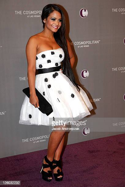 Singer Christina Milian arrives at The Cosmopolitan Grand Opening and New Year's Eve Celebration with JayZ and Coldplay at Marquee Nightclub in The...