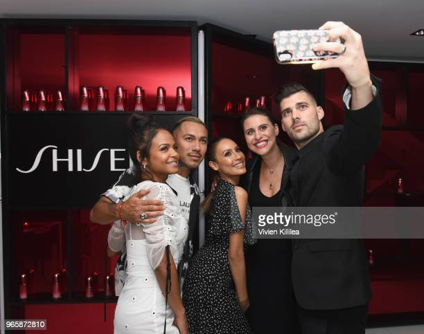 Singer Christina Milian David Rodriguez Desi Perkins Senior PR Manger at Shiseido Hallie Krauser and Steven Perkins attend the Malibu #Ultimune...