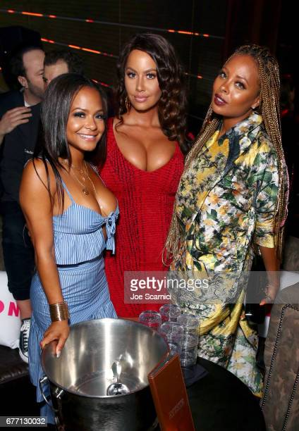Singer Christina Milian model Amber Rose and actor Eva Marcille at the NYLON Young Hollywood Party at AVENUE Los Angeles on May 2 2017 in Los Angeles...