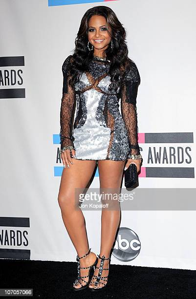 Singer Christina Milian poses in the press room at the 2010 American Music Awards held at Nokia Theatre LA Live on November 21 2010 in Los Angeles...