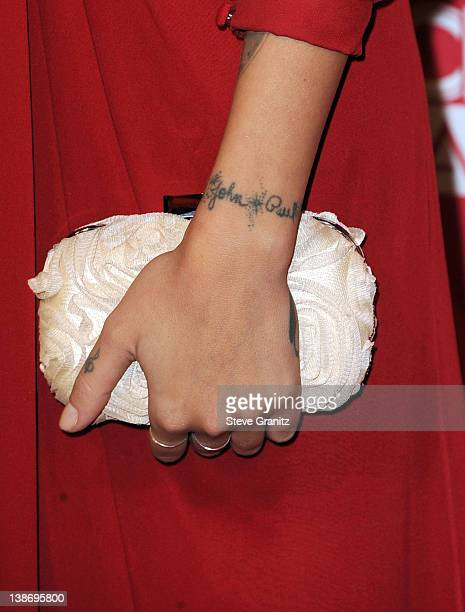 Singer Christina Perri arrives at The 2012 MusiCares Person of The Year Gala Honoring Paul McCartney at Los Angeles Convention Center on February 10...