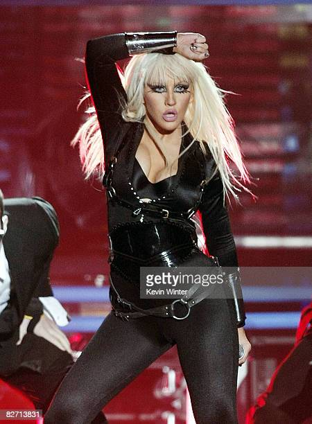 Singer Christine Aguilera performs onstage at the 2008 MTV Video Music Awards on the Paramount Studios lot on September 7 2008 in Los Angeles...