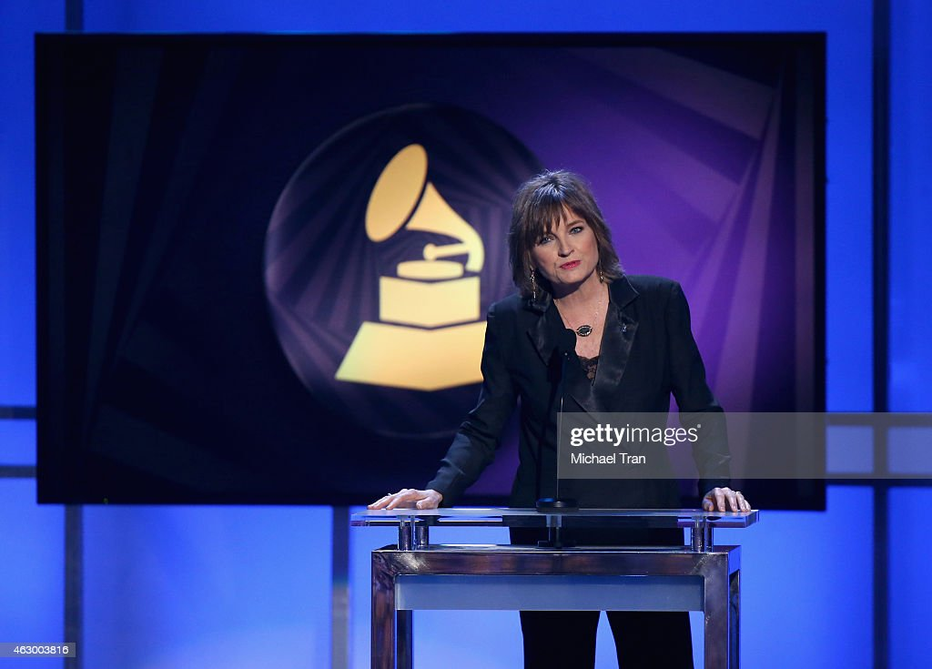 Singer Christine Albert speaks onstage during the The 57th Annual GRAMMY Awards Premiere Ceremony at Nokia Theatre L.A. Live on February 8, 2015 in Los Angeles, California.