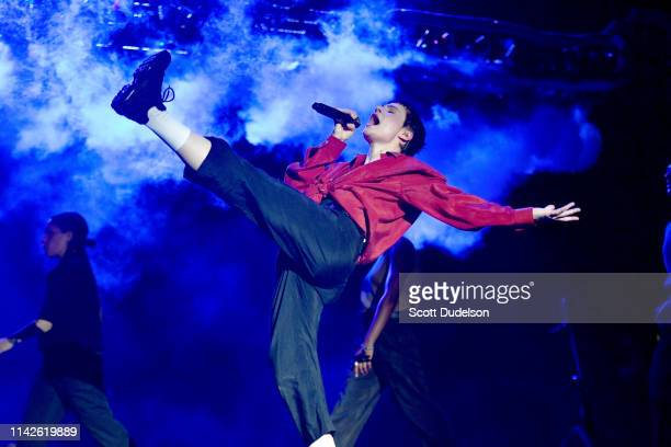Singer Christine and the Queens performs onstage during Weekend 1 Day 2 of the Coachella Valley Music and Arts Festival on April 13 2019 in Indio...