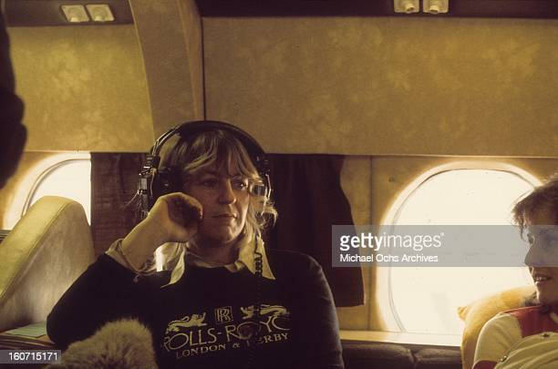 Singer Christine McVie of the Rock group 'Fleetwood Mac' on board their private jet in circa 1975