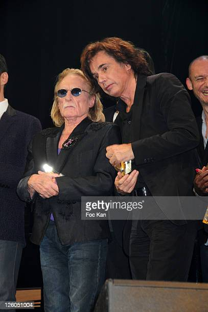 Singer Christophe and musician Jean Michel Jarre attend he Sacem 2010 Music Awards at the Theatre Marigny on November 29 2010 in Paris France