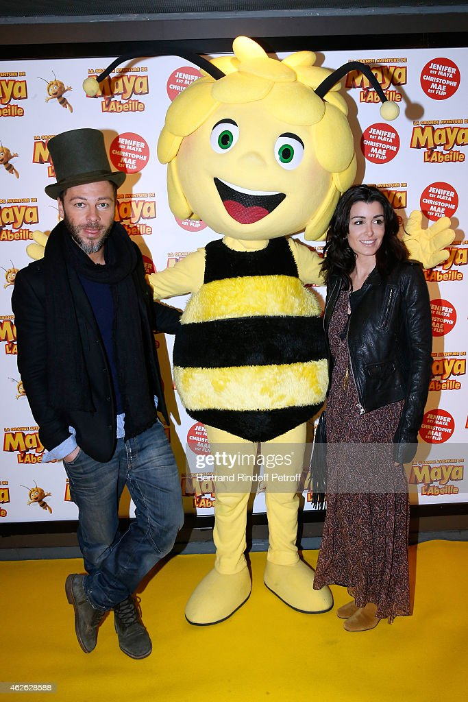 Singer Christophe Mae (French voice of Flip), Maya and Singer Jenifer (French voice of Maya) attend the 'Maya The Bee - La Grande Aventure De Maya L'Abeille' Paris Premiere at UGC Cine Cite Bercy on February 1, 2015 in Paris, France.