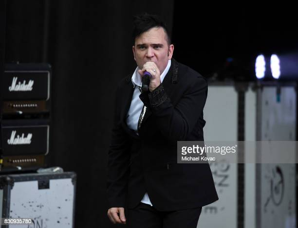 Singer Christopher Anton of the band 'christopher ANTON and The Joneses' performs at The Starlight Bowl on August 12 2017 in Burbank California