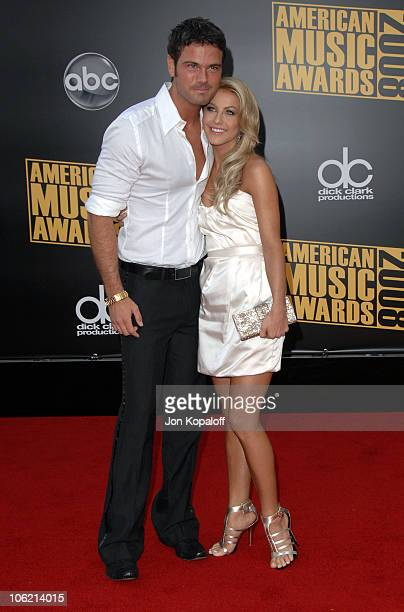 Singer Chuck Wicks and dancer/singer Julianne Hough arrive at the 2008 American Music Awards held at Nokia Theatre LA LIVE on November 23 2008 in Los...