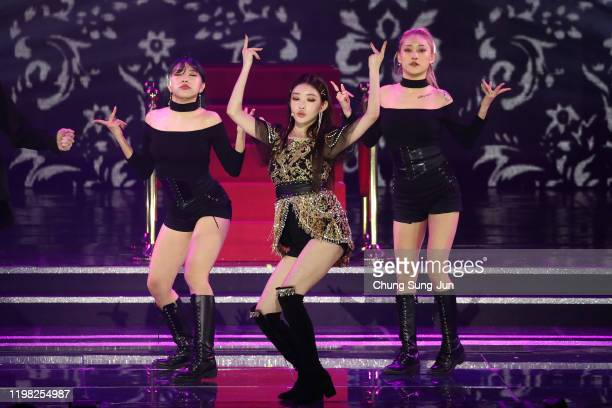 Singer Chung Ha perform on stage during the 9th Gaon Chart K-Pop Awards on January 08, 2020 in Seoul, South Korea.