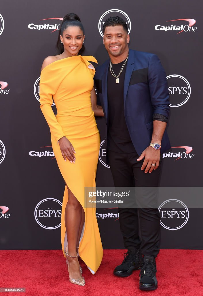 Singer Ciara and football player Russell Wilson attend The 2018 ESPYS at Microsoft Theater on July 18, 2018 in Los Angeles, California.