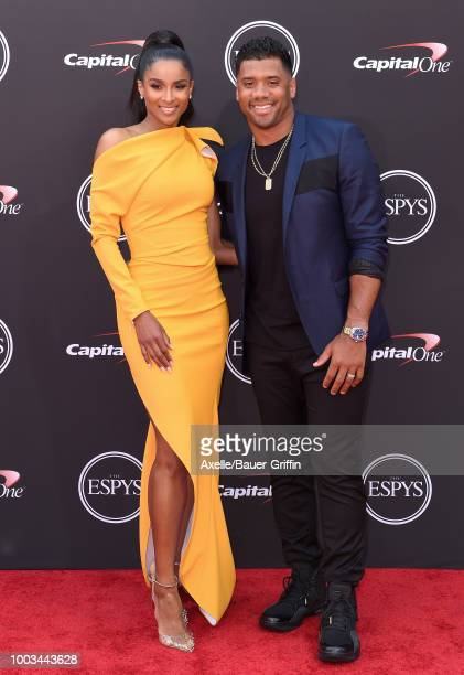 Singer Ciara and football player Russell Wilson attend The 2018 ESPYS at Microsoft Theater on July 18 2018 in Los Angeles California
