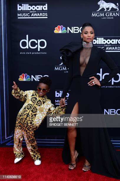 US singer Ciara and her son Future Zahir Wilburn attend the 2019 Billboard Music Awards at the MGM Grand Garden Arena on May 1 in Las Vegas Nevada