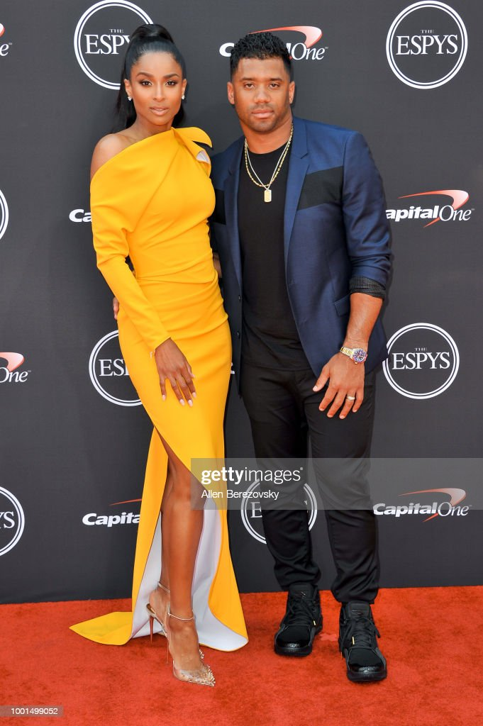 Singer Ciara and husband football player Russell Wilson attend The 2018 ESPYS at Microsoft Theater on July 18, 2018 in Los Angeles, California.