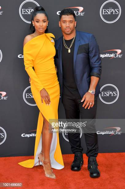 Singer Ciara and husband football player Russell Wilson attend The 2018 ESPYS at Microsoft Theater on July 18 2018 in Los Angeles California