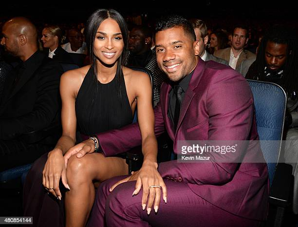 Singer Ciara and NFL player Russell Wilson attend The 2015 ESPYS at Microsoft Theater on July 15, 2015 in Los Angeles, California.
