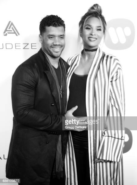 Singer Ciara and NFL quarterback Russell Wilson arrive at Warner Music Group's Annual GRAMMY Celebration at Milk Studios on February 12 2017 in...