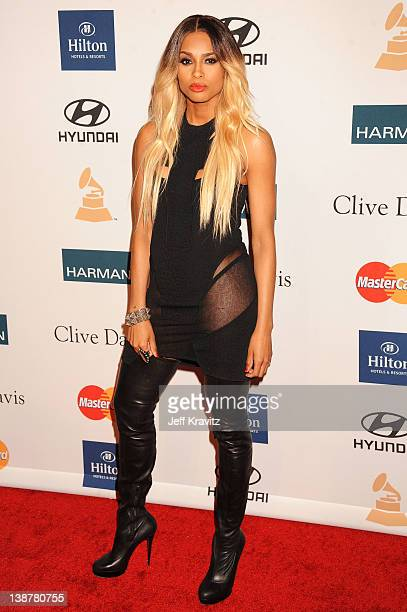 Singer Ciara arrives at Clive Davis and the Recording Academy's 2012 PreGRAMMY Gala and Salute to Industry Icons Honoring Richard Branson held at The...