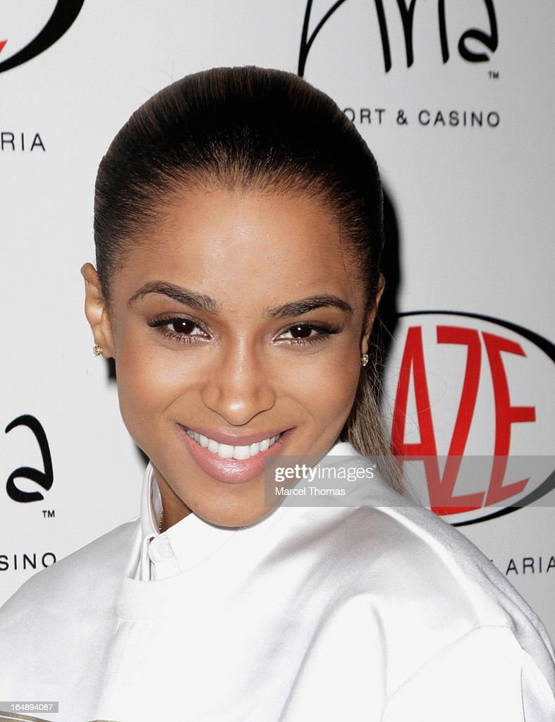 Singer Ciara arrives at Haze Nightclub at the Aria Resort & Casino at CityCenter for a performance on March 28, 2013 in Las Vegas, Nevada.